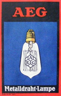 Poster stamp depicting corporate design by Peter Behrens for AEG, c.1910