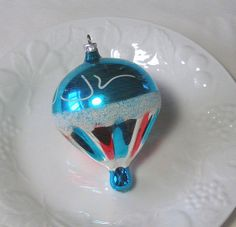 """German Mercury Glass Balloon Ornament - Stunning Blown Glass 1940s Figural Silver Turquoise Berry Red 4"""" Antique Christmas Decoration Pretty"""