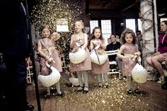 Glitter girls instead of flower girls. Love this idea!