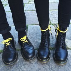 DOUBLE DOC'S: Match your originals with yellow laces. The 1461 and 1460. Photo by siobhxcorbin.