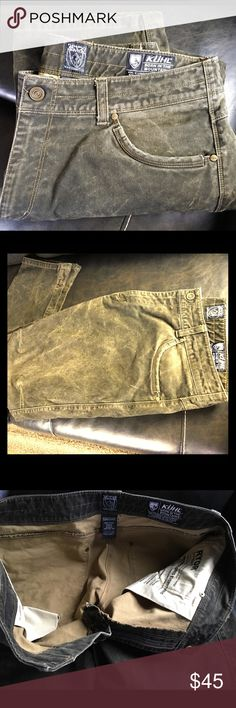 ⚙️MENS KUHL RYDER BETTINA HEAVY DUTY SZ36x32 ⚙️MENS KUHL RYDER BETTINA HEAVY DUTY SZ36x32.  WASHED ONCE- MY HUSBAND DID NOT LIKE THEM. COMPANY DISTRESSED LOOK BUT NO RIPS TEARS STAINS!!! NWOT! Kind of an olive green:brown color.. depending on light. Kuhl Pants Chinos & Khakis
