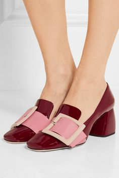 Heel measures approximately 65mm/ 2.5 inches Burgundy, pink and beige patent-leather Slip on Made in Italy