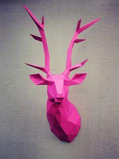 Papercraft deer head printable DIY template by WastePaperHead