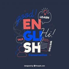 Languages concept with flat design Free Vector Graphic Design Branding, Graphic Design Posters, English Study, Learn English, Design Plano, Hand Lettering Alphabet, Notebook Covers, Decorating With Pictures, Banners