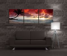 This amazing picture of a Palm Tree stretching out to the Sunset on the famous Sunset Beach on the Island of Oahu, Hawaii is displayed as a stunning three panel Triptych Photograph.