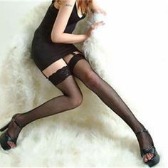 Womens Sheer Body stocking Sexy Stockings Lace Top Hollow Fishnet Thigh High