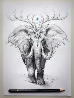 Trademark Art 'Elephant Soul' Graphic Art Print on Wrapped Canvas Size: Animal Drawings, Pencil Drawings, Elephant Drawings, Elephant Sketch, Elephant Artwork, Cartoon Elephant, Image Elephant, Arte Grunge, Desenho Tattoo