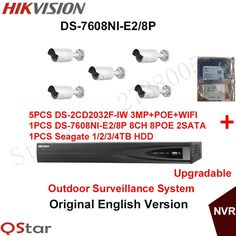 888.00$  Buy here - http://alih5m.shopchina.info/1/go.php?t=32815095111 - Hikvision Original English Security Camera System 5xDS-2CD2032F-IW 3MP POE IP CCTV wifi Camera+6MP Recording NVR DS-7608NI-E2/8P 888.00$ #aliexpress