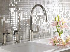 Stainless Steel Kitchen Backsplashes - mosaic backsplash