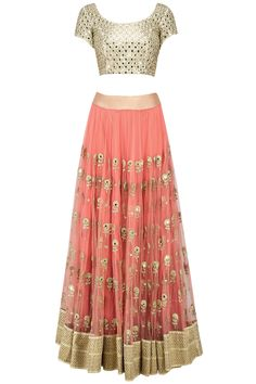 Pink and mint mirror work lehenga set available only at Pernia's Pop Up Shop.