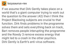 Dirk Gently's Holistic Detective Agency, Hitchhiker's Guide to the Galaxy