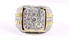 14k Yellow Gold Finish 2.81 Ctw Cubic Zirconia Rounds Mens Cross Pinky Ring