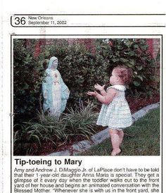 If you are devoted to the Virgin Mary, this picture will just make you SO HAPPY! Childhood is just wonderful  follow me on Facebook at https://www.facebook.com/pages/The-Recycled-Catholic/155839057760821?ref=hl#!/pages/The-Recycled-Catholic/155839057760821