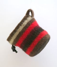 Brown and Red Striped Chalk Bag by Tomberina on Etsy