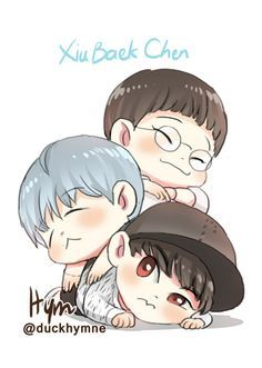Find images and videos about kpop, exo and baekhyun on We Heart It - the app to get lost in what you love. Kaisoo, Chanbaek, Kpop Exo, Exo Cartoon, Exo Anime, Chanyeol Baekhyun, Exo Fan Art, Xiuchen, Cute Chibi