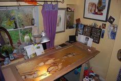 Artist studio Jackie Morris, Big Hares on drawing board.