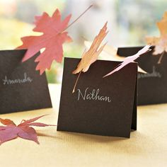 "Thanksgiving Table - Make your place card, cut small 1"" notch at different angles & insert a leaf"