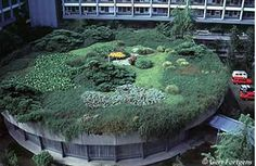 One aspect that makes this photo eye-catching is the lovely layout and plant diversity -- much more appealing than the usual green roof monoculture found in North America. Who& behind the mystery roof? It seems it is either on the Penn State Green Architecture, Sustainable Architecture, Sustainable Design, Roof Replacement Cost, Roofing Options, Residential Roofing, Living Roofs, Mean Green, Green Building