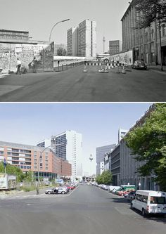 The beginning of the dismantling of the wall 1990 and as it looks today. Zimmerstraße/Axel-Springer-Straße.