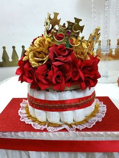 RED U0026 GOLD Diaper Cake Centerpiece With Crown For Prince Baby Shower / Boys  Red And Gold Baby Shower Theme And Decorations