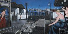 Paul Delvaux  Le Train Bleu or La Rue Aux Tramways   Oil on board 122 by 244cm; 48 by 96in. Painted in November 1946