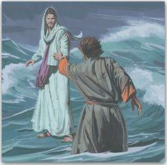 Jesus greift nach dem sinkenden Petrus