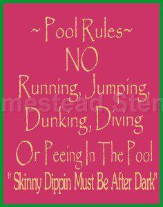 STENCIL (ITEM #1273 J ) Pool Rules...