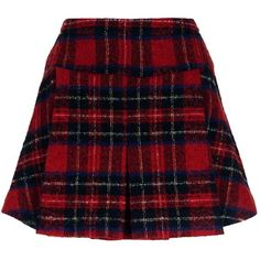 Pinko Pleated Tartan Skirt (6.360 CZK) ❤ liked on Polyvore featuring skirts, mini skirts, red skirt, short skirts, red pleated mini skirt, plaid pleated skirt and plaid skirt