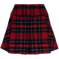 Pinko Pleated Tartan Skirt (£220) ❤ liked on Polyvore featuring skirts, mini skirts, short skirts, plaid mini skirt, pleated mini skirt, plaid miniskirts and red plaid skirt
