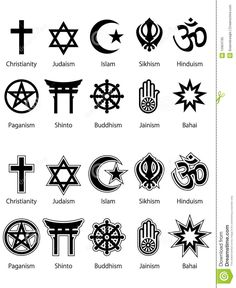 these different religious symbols are the most common symbols you'll come across for the religion it is representing. Wiccan Symbols, Magic Symbols, Symbols And Meanings, Spiritual Symbols, Religious Symbols, Ancient Symbols, Hindu Symbols, Symbols Of Islam, Goddess Symbols