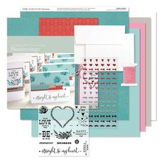 Workshops on the Go® Heartstrings Cardmaking Kit Contents:1 – My Acrylix® Heartstrings Workshop Stamp Set;1 – Heartstrings B&T Duos™ Paper; 4 – Cardstock Sheets (1 Glacier, 1 Pixie, 1 Whisper, 1 White Daisy); 15 – White Daisy Cards & Envelopes;1 – Pixie Extra Thick Twine (Z3035)1 – Stuck on You Puffies (Z3037); 1 – Instructional Brochure Featured Colors: Glacier, Lagoon, Pixie, Slate, Whisper, White Daisy. Makes 15 Cards.(G1090)
