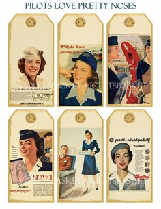 no88 AIrHoStEss SwInG TaGs airline vintage cards atc backgrounds digital flight attendant. $1.00, via Etsy.