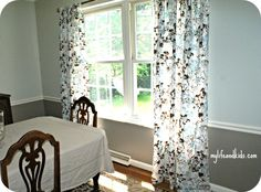 Curtains made from sheets. I can easily update the kids room with this idea for little money!