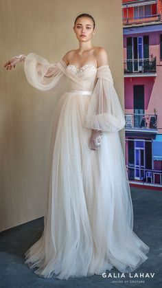 """23 Unconventional Wedding Dress Styles That Are Pure Eye Candy 23 Unconventional Wedding Dress Styles That Are Pure Eye Bride] Puff Sleeve Wedding Gowns """"The doubled-up sleeves on this Galia Lahav piece kind. Maggie Sottero Wedding Dresses, Wedding Dresses With Straps, Wedding Dress Trends, Best Wedding Dresses, Bridal Dresses, Wedding Gowns, Trendy Wedding, Wedding Lace, Colorful Wedding Dresses"""