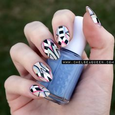 Checkered Tribal Nails www.chelseaqueen.com