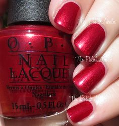 "OPI Holiday 2015 Starlight Collection Swatches-""Ro-Man-Ce On The Moon is a red shimmer. This is super glowy looking, like a lit from within shimmer. The formula was good, it was easy to work with and the opacity was really good. I used 2 coats for the photos below."""