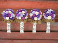 These would be prettier with burlap wrapped with lace down the handle and blue or teal in place of the lavender.