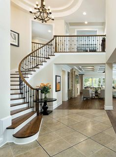 Modern Staircase Design Ideas - Staircases are so common that you don't give them a reservation. Look into best 10 instances of modern staircase that are as magnificent as they are . Home Stairs Design, Dream Home Design, Modern House Design, Home Interior Design, Arthur Rutenberg Homes, Villa Plan, Luxury House Plans, Modern Staircase, Curved Staircase