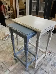 ASCP Old White and Louis Blue Painted Nesting Tables - via Paint Me White