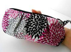 Pleated Clutch Wristlet Zipper Pouch ECO Friendly Padded Fuschia Flowers NEW by JPATPURSES, $24.00