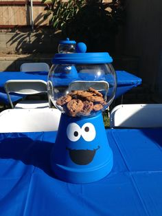 Milk and cookies birthday hudsons milk and cookie monster 1st sesame street cookie monster party centerpiece voltagebd Images