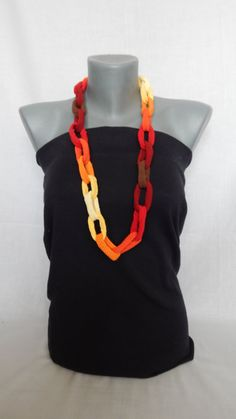 This orange OOAK necklace is an excellent opportunity to be noticed! This chain link necklace is light, made with 100% cotton thread in yellow, brown,