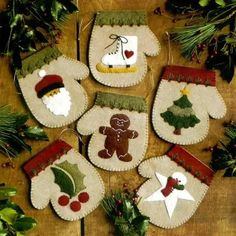 The Warm Hands Felt Christmas Ornament Kit from Rachel's of Greenfield makes 6 unique mitten ornaments. Kit includes felt, embroidery floss for embellishment, gold string for hanging, complete patterns, and illustrated instructions. Felt Christmas Ornaments, Noel Christmas, Primitive Christmas, Christmas Stockings, Snowman Ornaments, Winter Christmas, Felt Snowman, Christmas Runner, Felt Crafts