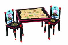 Guidecraft Table and Chair Set with Pirate Motif Kids Table Chair Set, Kid Table, Playroom Furniture, Kids Furniture, Wooden Furniture, Pirate Bedroom, Pirate Kids, Toddler Rooms, Kids Rooms