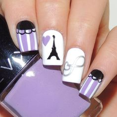 """""""Adorable Paris nails by @amyytran using Whats Up Nails infinite heart stickers and Eiffel Tower stencils from WhatsUpNails.com (link in bio). Shipping…"""""""
