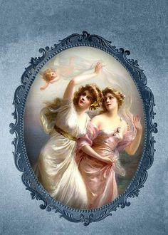 """he-garden-of-delights:""""The Three Graces"""" (detail) by Edouard Bisson Decoupage Vintage, Decoupage Paper, Vintage Ephemera, Vintage Paper, Vintage Postcards, Victorian Paintings, Victorian Art, Vintage Pictures, Vintage Images"""