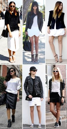 Blue is in Fashion this Year: Six Looks: Skirts & Black & White