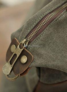 Large Capacity Shoulder Bag Leather Canvas Bag (15)