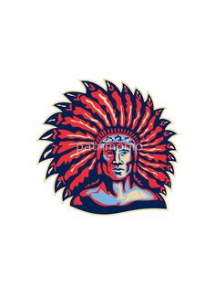 Native American Indian Chief Warrior Retro by patrimonio t-shirt
