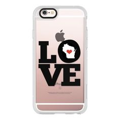 LOVE Wisconsin - iPhone 7 Case, iPhone 7 Plus Case, iPhone 7 Cover,... ($40) ❤ liked on Polyvore featuring accessories, tech accessories, iphone case, apple iphone case, iphone cases, iphone cover case and iphone hard case